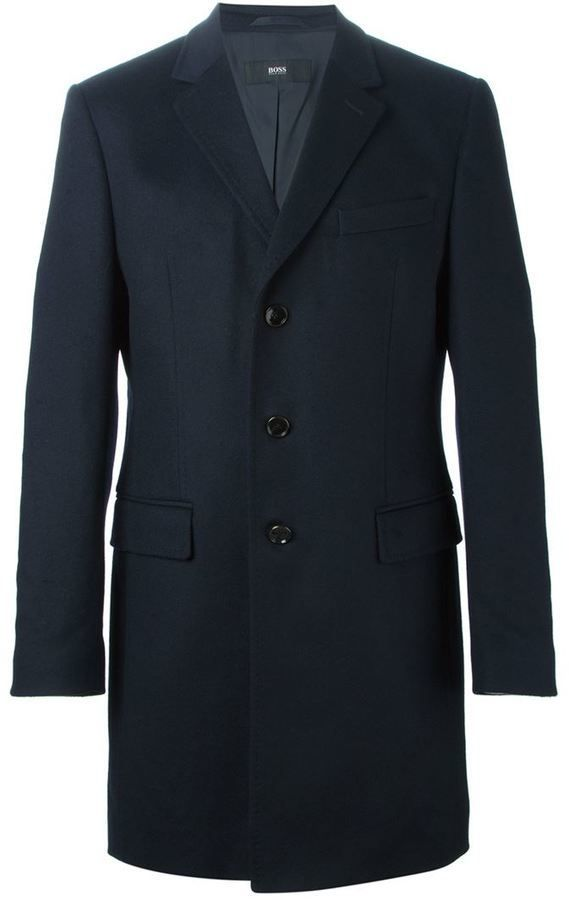 $642, Hugo Boss Boss Single Breasted Coat. Sold by farfetch.com. Click for more info: https://lookastic.com/men/shop_items/336734/redirect