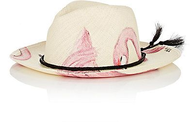 We Adore: The Flamingo Hand-Painted Straw Panama Hat from Ibo Maraca at Barneys New York