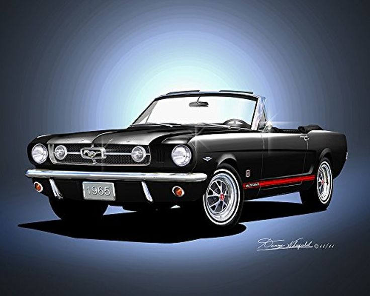 1965 MUSTANG CONVERTIBILE RAVEN BLACK - ART PRINT POSTER BY ARTIST DANNY WHITFIELD -- Awesome products selected by Anna Churchill