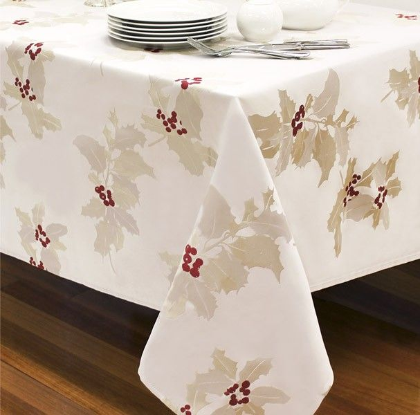 Divine jacquard holly inspired tablecloth on a oyster silver base to add a special touch to your kitchen decor. A perfect base to set your Christmas table http://www.pinterest.com/WAMhomedecor/christmas-kitchen-decor/#christmasdecor #Christmas