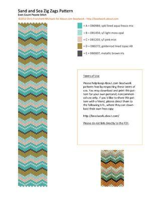 Sand and Sea Zig Zags Peyote Stitch Bracelet Pattern