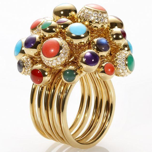 High jewelry ring Chantecler Anello in oro giallo,diamanti,turchese,corallo