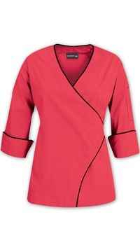 Women's Wrap Chef Coat - Contrast Piping – 65/35 Poly/Cotton