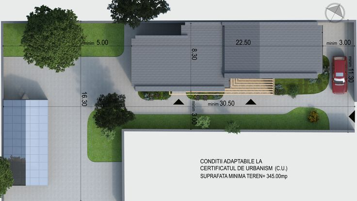 Casa moderna parter situata pe limita de proprietate- Plan de situatie | Site plan for a single- family dwelling |