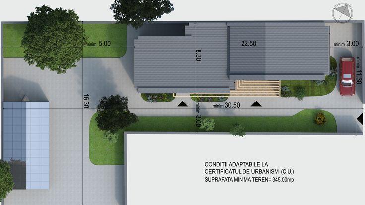 Casa moderna organizata functional eficient pe parter situata pe limita de proprietate- Plan de situatie   House with a contemporary design for a modern family- Site plan  