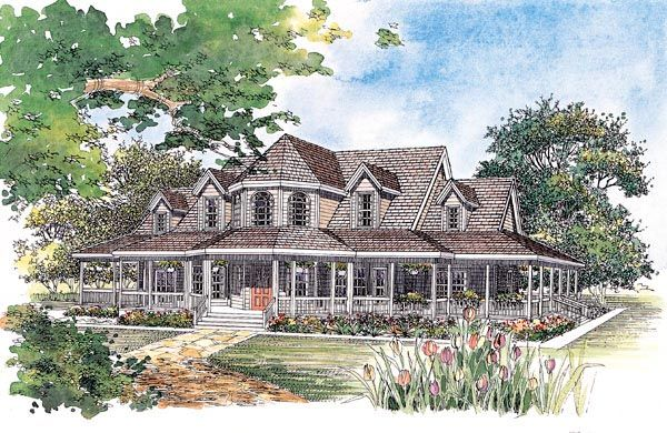 Country Farmhouse Elevation of Plan 95067