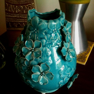 Vase from department store in Peebles.