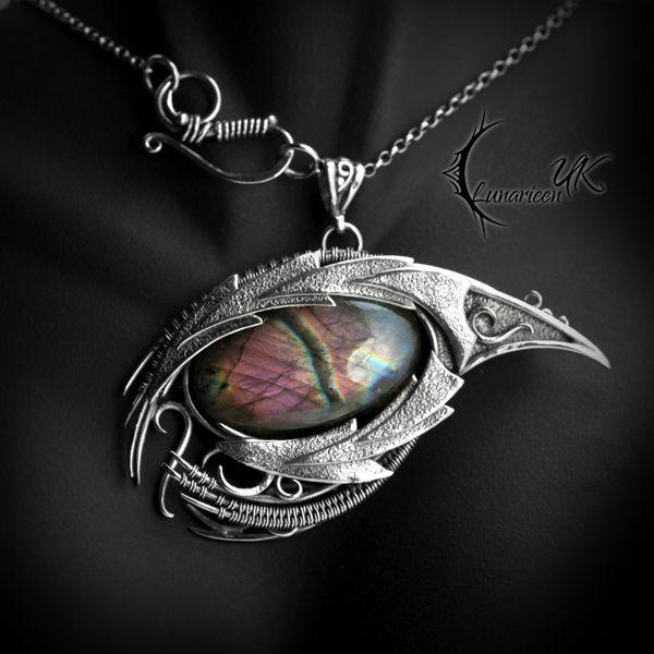 XAGHTRAN DRACO – silver and labradorite by LUNARIEEN dragon eye necklace pendant…   – Fantasy items