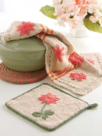 Embroidered Flowers Colorful Kitchen towel/pad set knitting pattern $2.49 USD