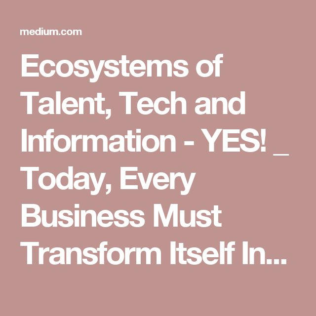 Ecosystems of Talent, Tech and Information - YES! _ Today, Every Business Must Transform Itself Into A Platform – Medium