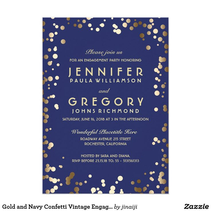 Gold and Navy Confetti Vintage Engagement Party
