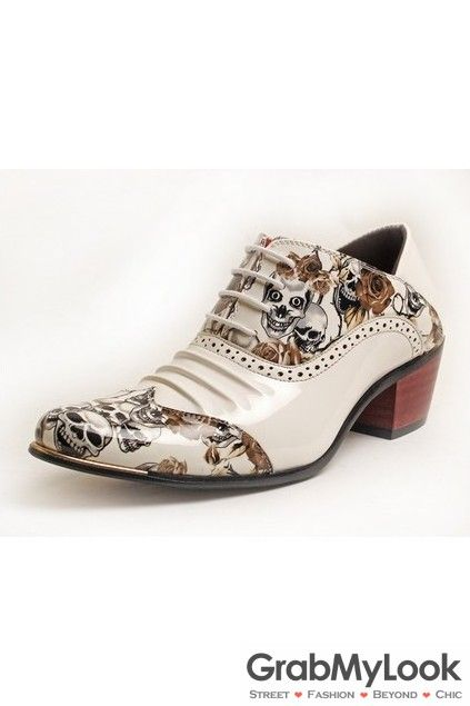 GrabMyLook Gun And Roses Skull Lace Up Shinny White Point Head Oxford Mens Shoes