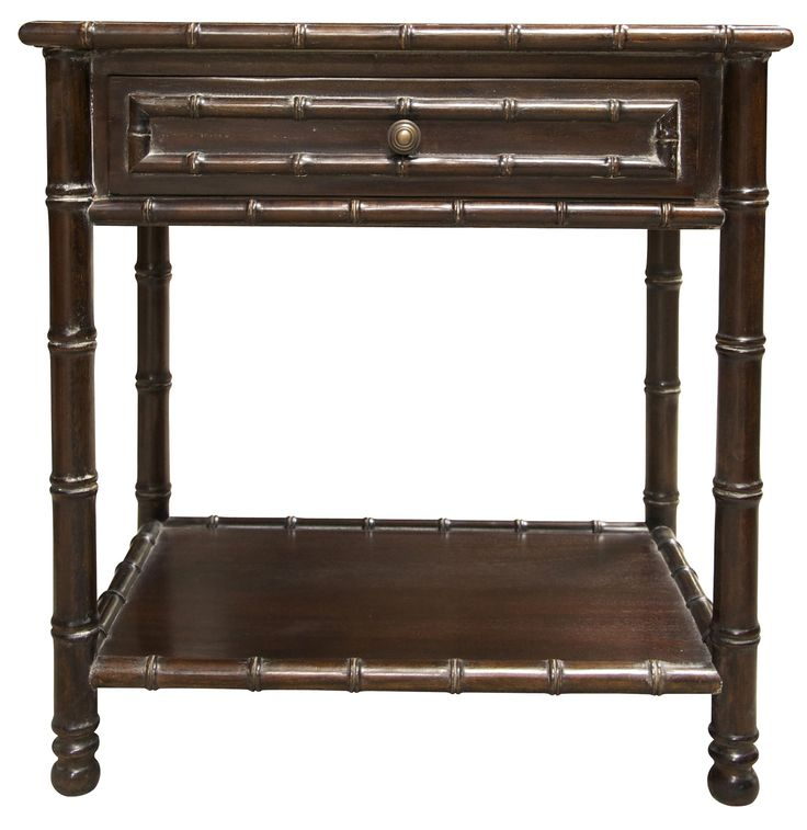 Bamboo Furniture Store: Barnett Brown Mahogany Bamboo Side Table With One Drawer