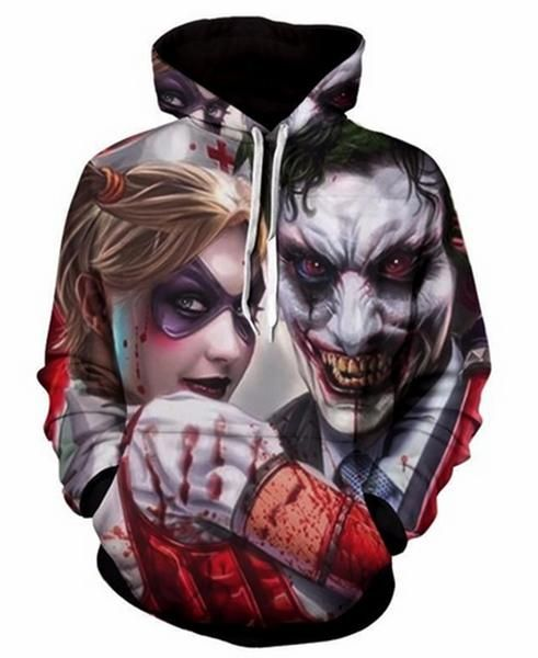 ecedc62ab262 Joker   Harley Quinn Bloody Effects 3D Printed Men Women s High Quality  Hoodies Hooded Pullover Sweatshirt