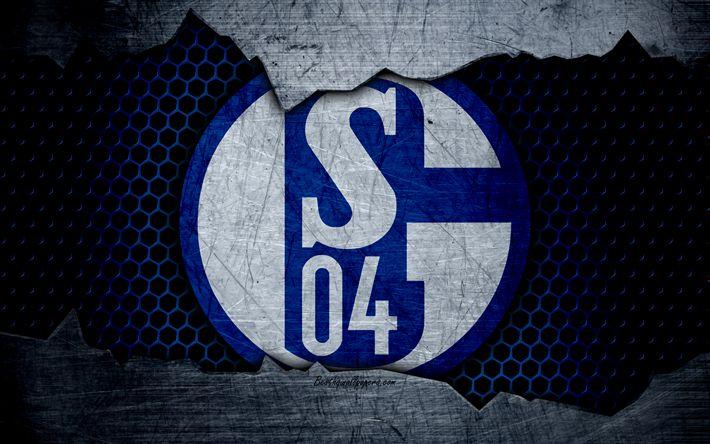 Download wallpapers Schalke 04, 4k, logo, Bundesliga, metal texture, soccer, FC Schalke, football