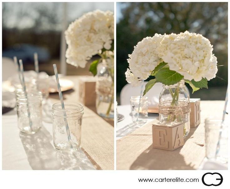 I love the simple hydrangea bouquet, wooden alphabet blocks and the mason jars with blue and white striped straws