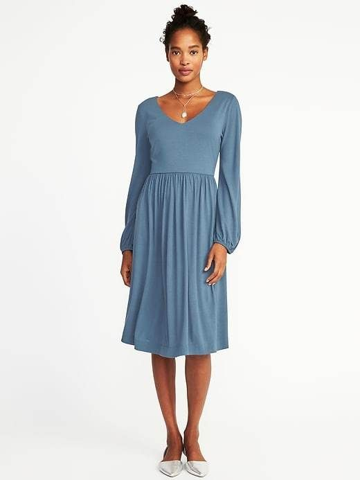 Fit & Flare Jersey-Knit Dress for tall Women Available Colors: Blackjack ,Golden Glow ,Olive Floral ,Rainwater Blue #tallwomen #dresses #ad