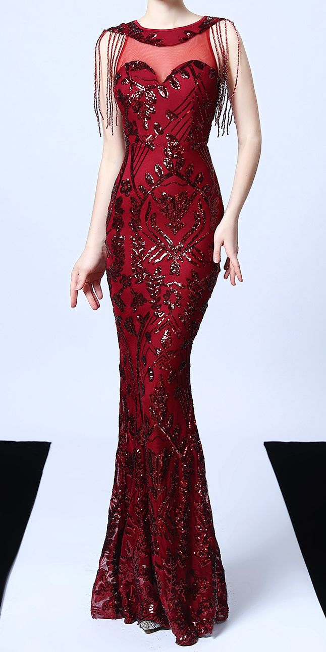 Dark Red Tight Floral Sequin Long Evening Dress Stunning Evening Dresses Long Evening Dresses Dresses [ 1293 x 646 Pixel ]