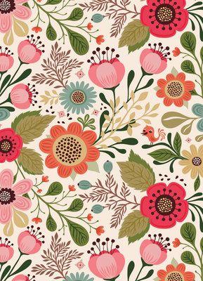 Vintage Flower Design Floral Illustrations Print
