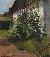 Erik Henningsen (1855-1930): Hollyhocks