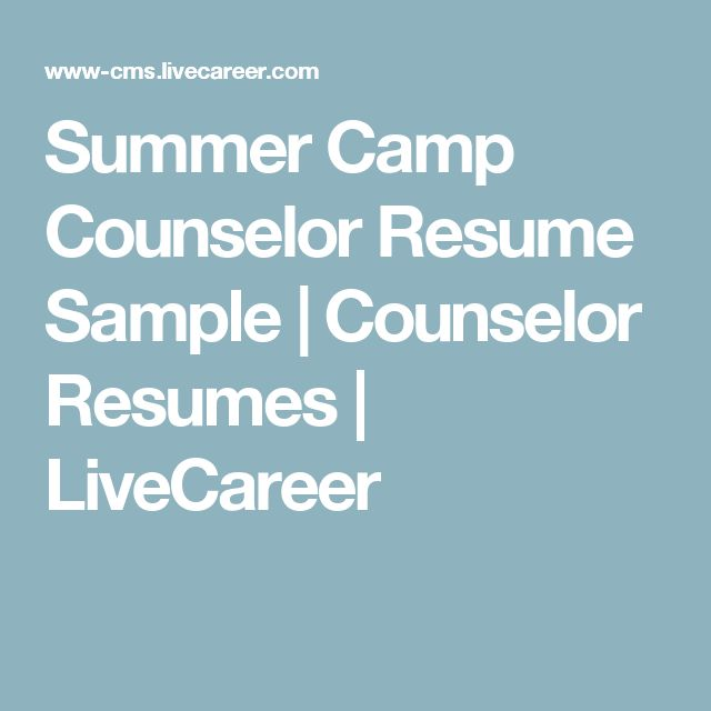 Here At LiveCareer We Are Creative In More Ways Than One! Check   Camp  Counselor  Live Career.com