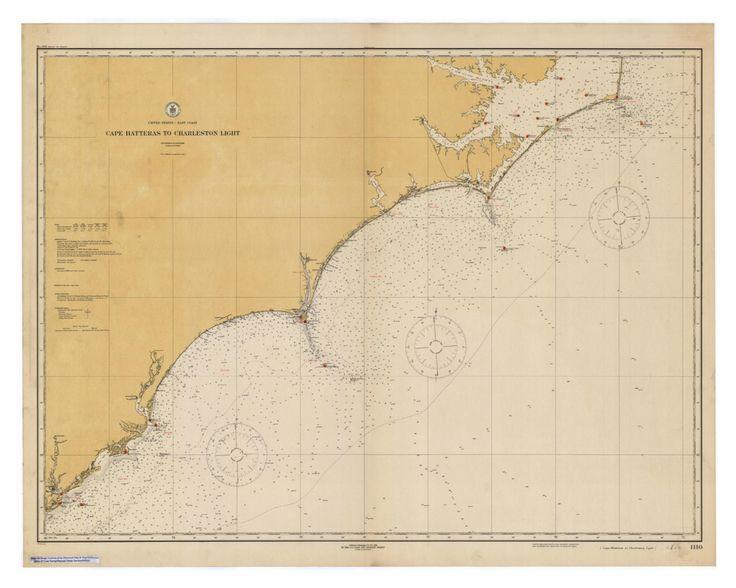 Coastal Vintage Map, Antique Nautical Map, Cape Hatteras Nautical Map, NC Coasts Vintage Map, Charleston Nautical Map, Vintage Coastal Map by CoastalCatDesign on Etsy