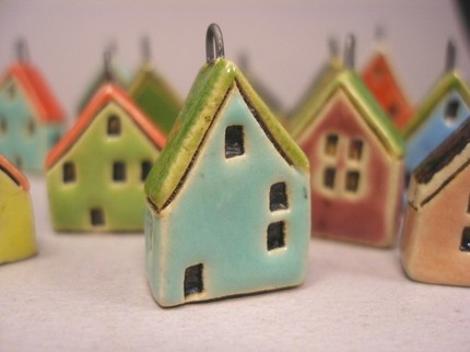 tiny house pendants - like the roof edge drawn in and painted idea....