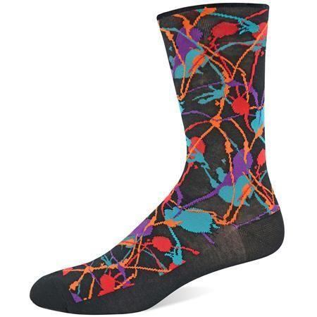 The Joy of Socks - Black and Bright Splatter Socks (Men's), $12.00 (http://www.joyofsocks.com/black-and-bright-splatter-socks-mens/)