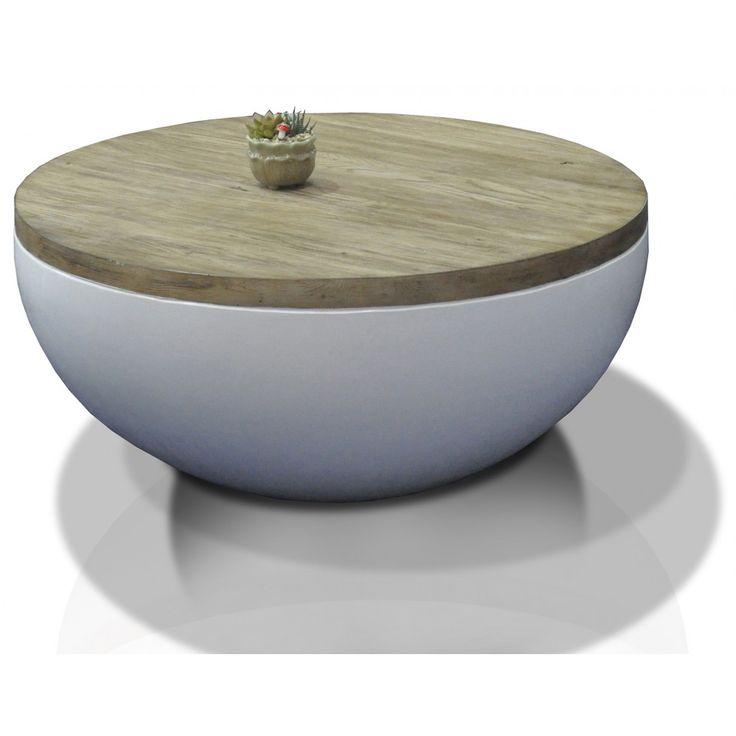 Concrete soffbord vit ek Ø90 :: Utemöbler och Trädgårdsmöbler, Soffbord / sidobord, Utemöbler och Trädgårdsmöbler > Bord, REA, REA > Soffbord / sidobord