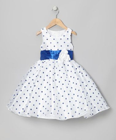 Another great find on #zulily! Blue Polka Dot Organza Dress - Infant, Toddler & Girls by Kid Fashion #zulilyfinds
