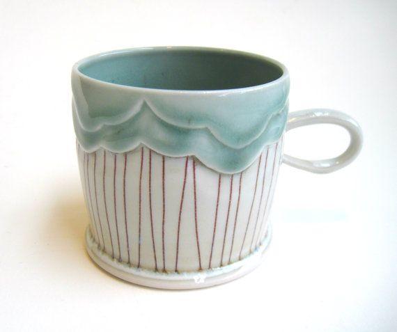 clouds = silver Linings :-)  Rain Cloud Porcelain Mug by SilverLiningCeramics, $36.00