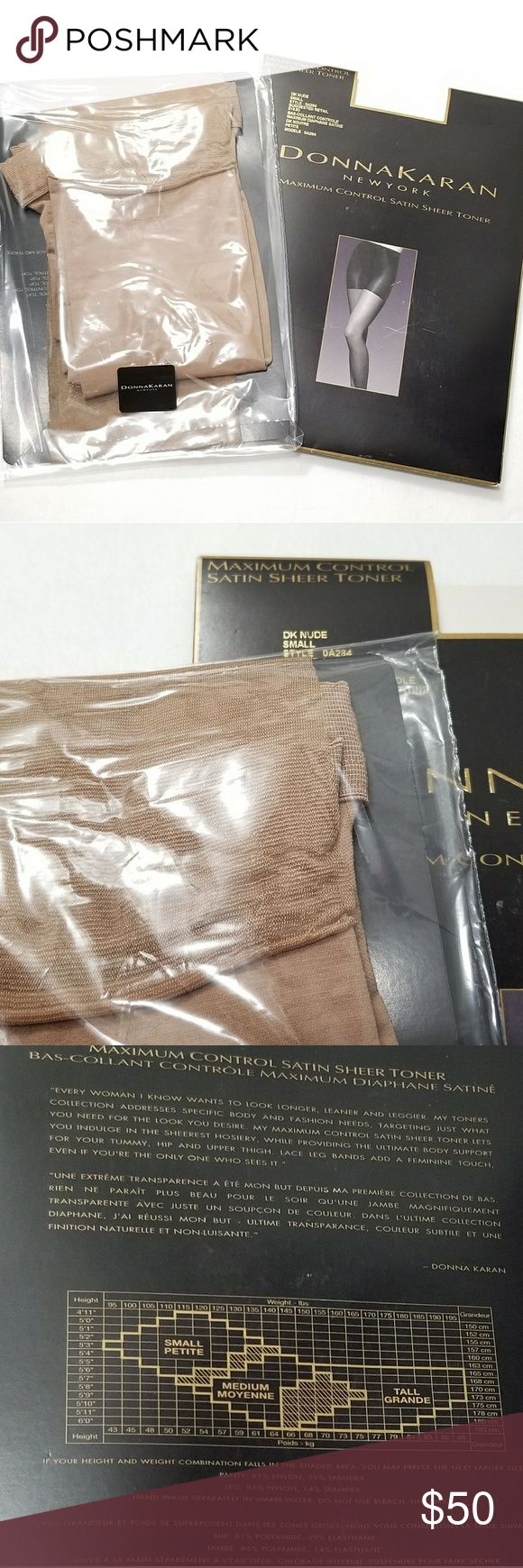 👢New Donna Karan Satin Sheer Sexy Hosiery Closet Clearance Item!  Discontinued Item Very Good Tights Very Sexy Longer, Leaner, Leggier Leg from Donna Karan New York Maximum Control Satin Sheer Toner. Brand new in original wraps. Size Small Petite. Please check picture 3 for details. Color Dark Nude. Only One. Closet Clearance Item. All Sales Final. Welcome bundle offer. Ship fast random gift :)  Earring on sale !! 4 Pairs for $20 Any Designs! Dkny Accessories Hosiery & Socks