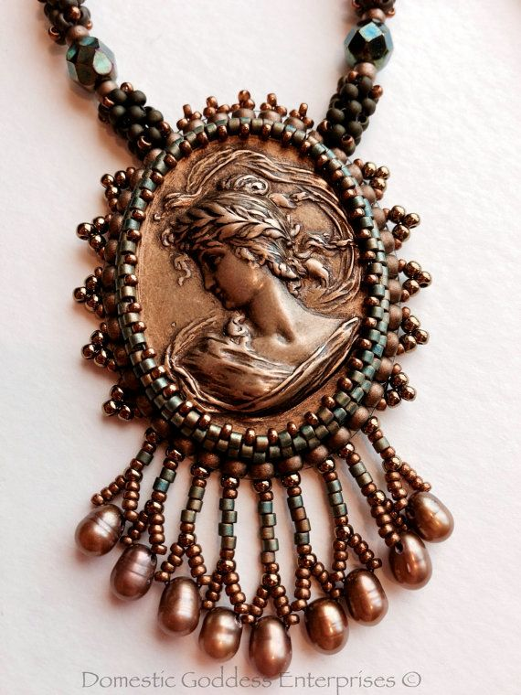 Bronze Cameo Bead Embroidered Necklace by DGEnterprises
