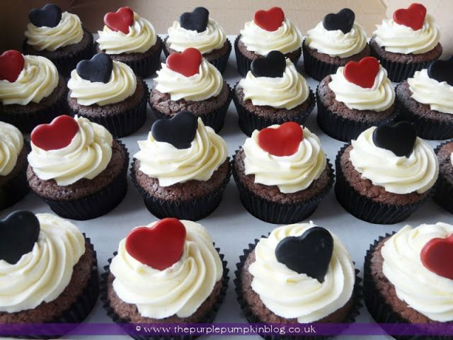 Red And Silver Wedding Cupcakes Popular Ideas Black White Heart The Purple Pumpkin