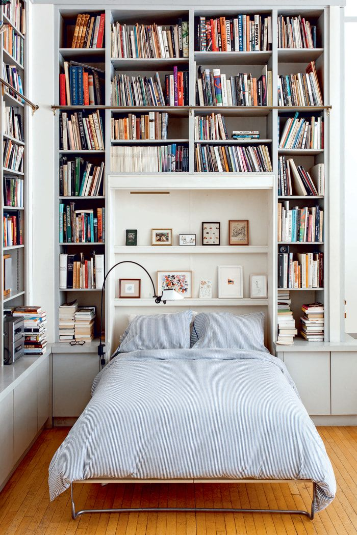 Illustrator Joana Avillez S Apartment Is A Book Lover S Dream With Images Guest Bedroom Home Murphy Bed Bookcase