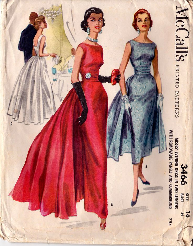 1955 McCall's Evening Gown 3466