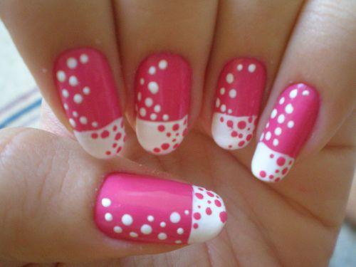 : Pink Dots, Polkadot, Pink Nails, Nail Art Designs, Nails Polish, Nail Design, Dots Nails, Nails Art Designs, Nails Designs