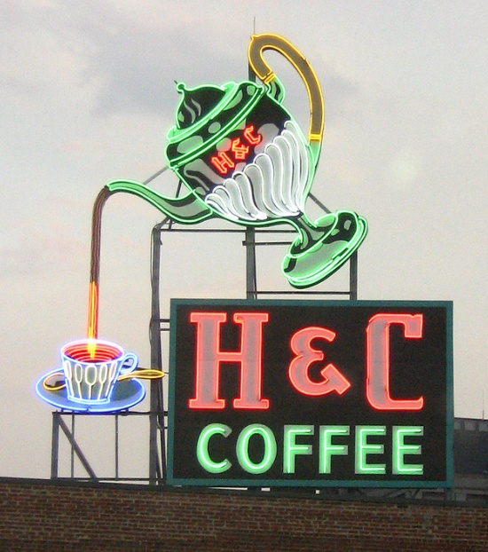 H & C Coffee • Roanoke, Virginia.  I remember seeing this sign every time I visited Roanoke.