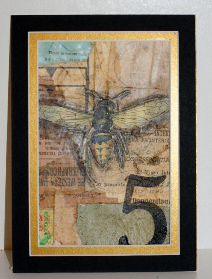 4x6 Ooak Collage Matted Ready To Frame Number 5 Bee