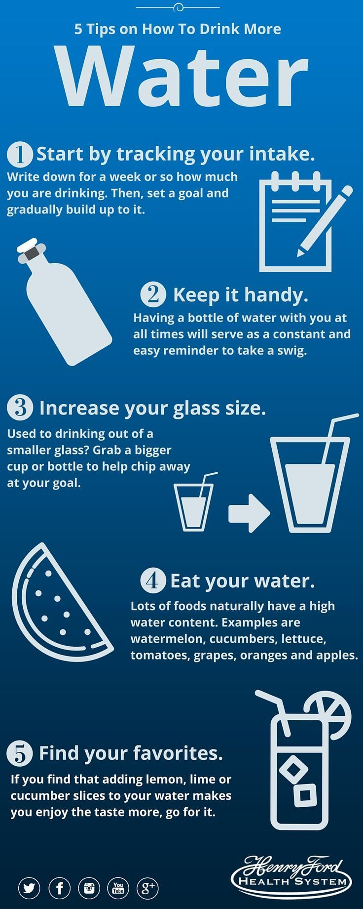 Health infographic : 5 Tips on How to Drink More Water. Increase your water intake with these five easy steps.  Infographic