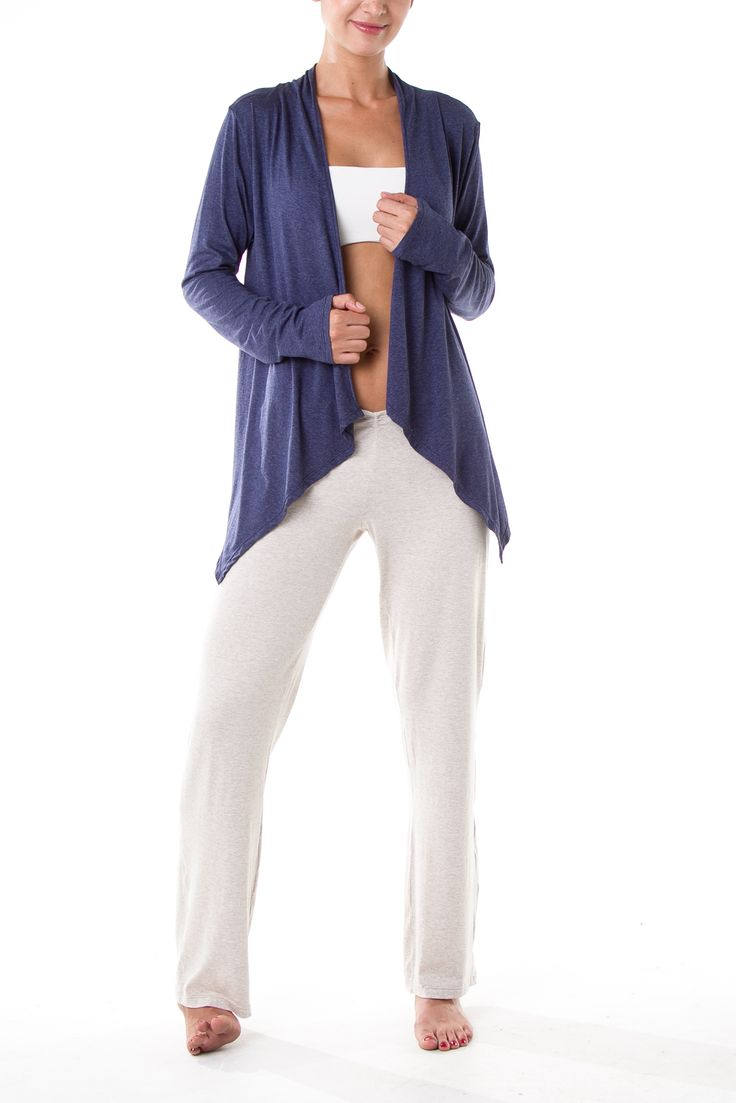 Heather blue wrap, structured top, heather cream basic pants