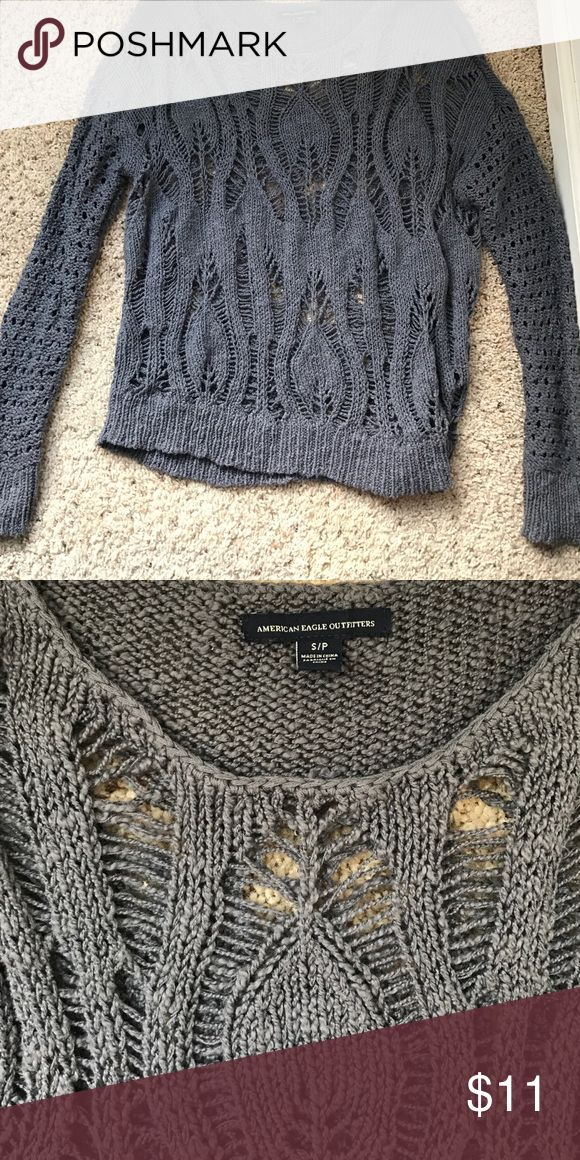 Holy American Eagle Outfitters Sweater Gray, holy American Eagle Sweater (never worn) American Eagle Outfitters Sweaters Crew & Scoop Necks
