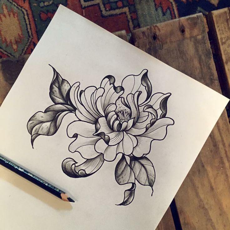 Tattoo artist miss Sita follow on Instagram @misssita Peonies floral botanical illustration
