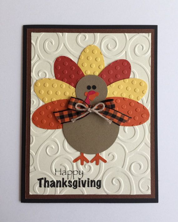 Handmade Turkey Thanksgiving Card by JuliesPaperCrafts on Etsy