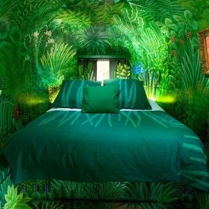 Amazing Bedroom With 3 D Rainforest Wallpaper Covering Whole Parts Of The Wall…