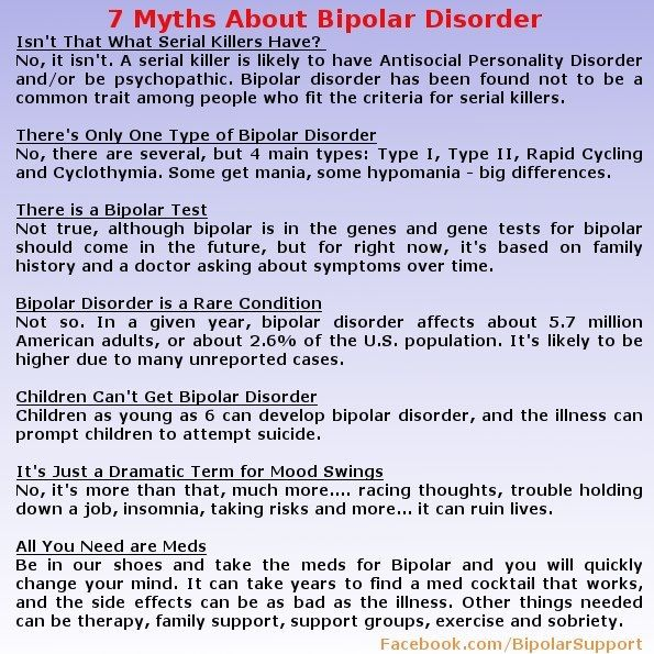 7 Myths About Bipolar Disorder  My symptoms Started at 5, diagnosed at 13...never treated...diagnosed again at 21....hardest part has been that family tells me its all in my head...