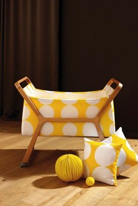 Yellow polka dot bassinet