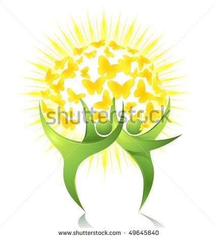 nice combination of nature dancers and a butterfly within the sun; logo inspiration