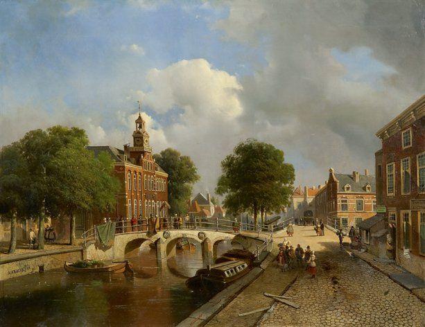 Jacobus 'Adrianus'  Vrolijk | 1834 - 1862 - Gezicht op het Oude Vrouwen -en Kinderhuis op het Spui te Den Haag