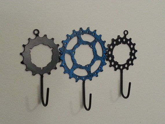 bike gear hooks x3 by davehardell on Etsy, $25.00 The boys would love these.
